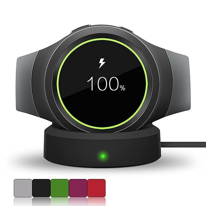 Samsung Gear S2 reloj inteligente Cargador inalámbrico ifeeker – Recambio de cargador de base de carga y sincronización con Cable USB para Samsung ...