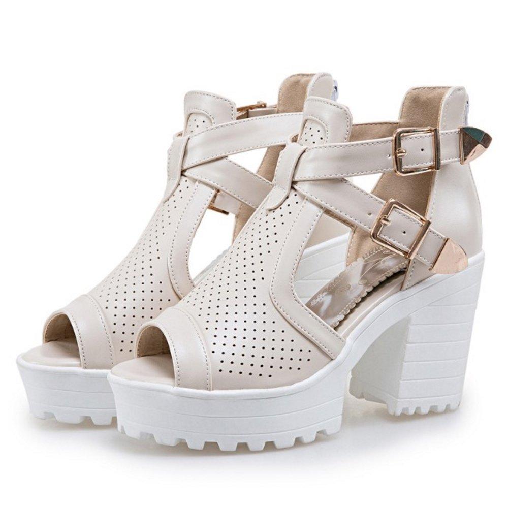 FANIMILA Women Fashion Ankle Wrap Heels Sandals Platform Shoes with Zipper