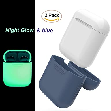9bf22d000f0 FEIKU AirPods Case 2Pack Protective Silicone Cover and Skin for Apple  Airpods Charging Case (Blue&Night Glow): Amazon.co.uk: Electronics
