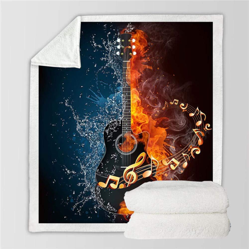 ZMK-720 Couverture en Duvet Couverture de feu et de leau Guitare Basse en Peluche Douce Couverture Couverture Mince Musique Courtepointe pour la literie 3D imprim/ée Jeunesse@1/_75cmx100cm