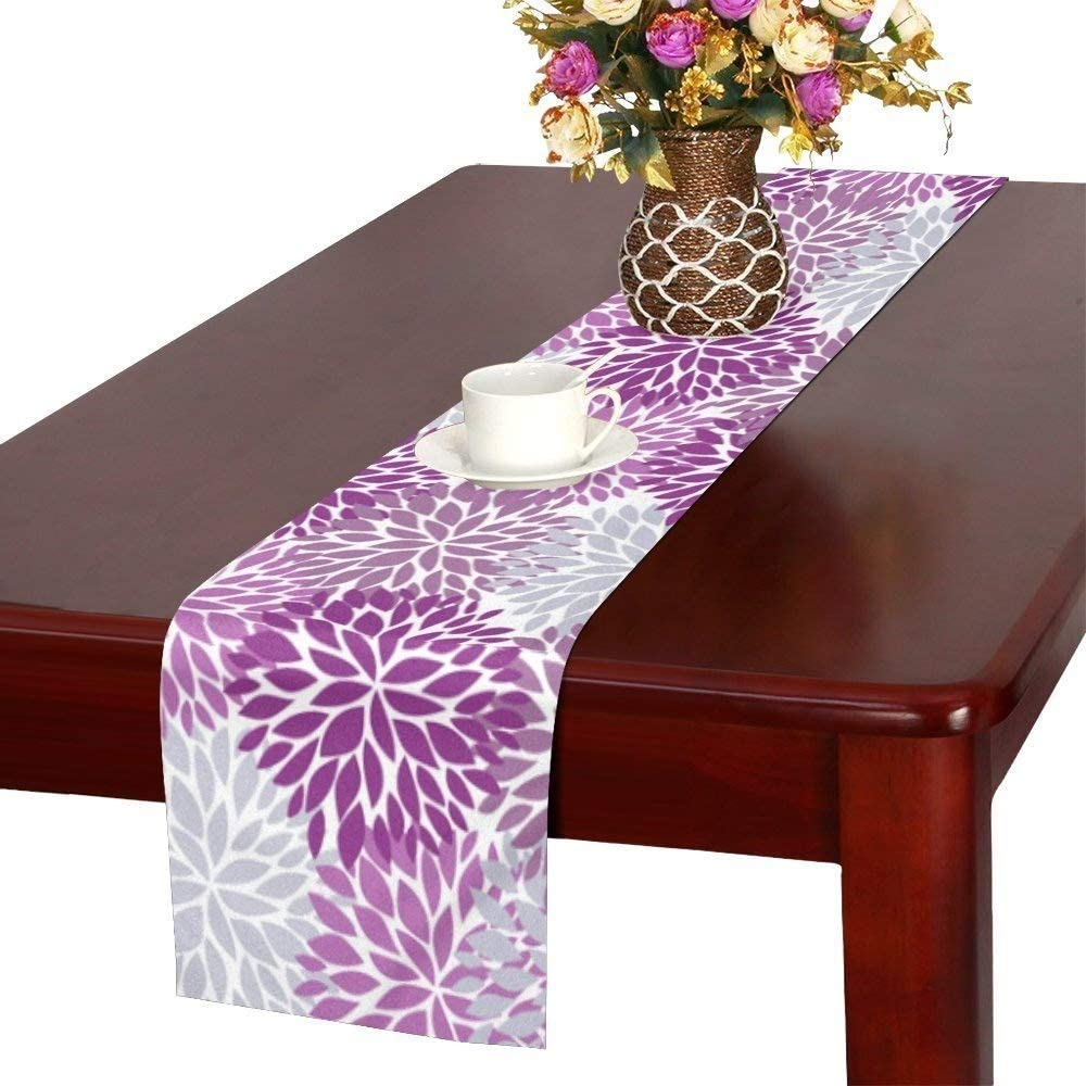InterestPrint Dahlia Pinnata Flower Purple and Gray Table Runner Cotton Linen Home Decor for Home Kitchen Wedding Party Banquet Decoration 16 x 72 Inches: Kitchen & Dining
