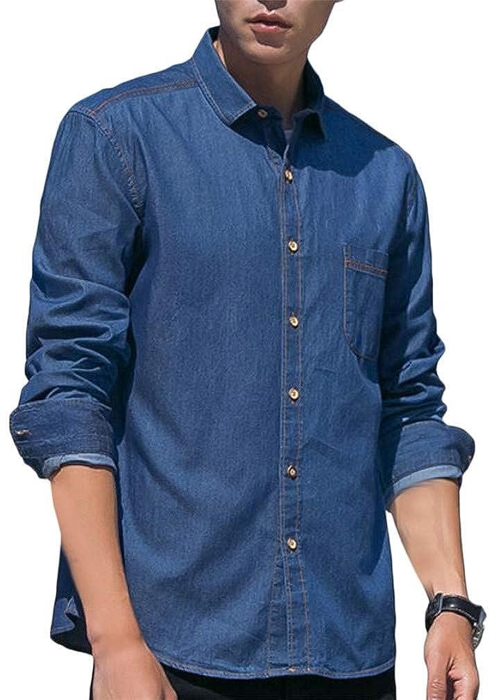 Cromoncent Mens Denim Long Sleeve Faded Casual Lapel Neck Pocket Button Down Shirts