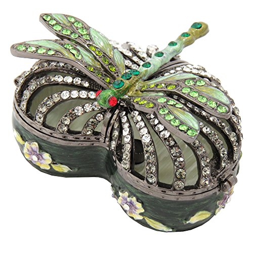 Floral Green Enameled Heart With Dragonfly Trinket Jewelry Box Figurine With Swarovski Elements Crystals