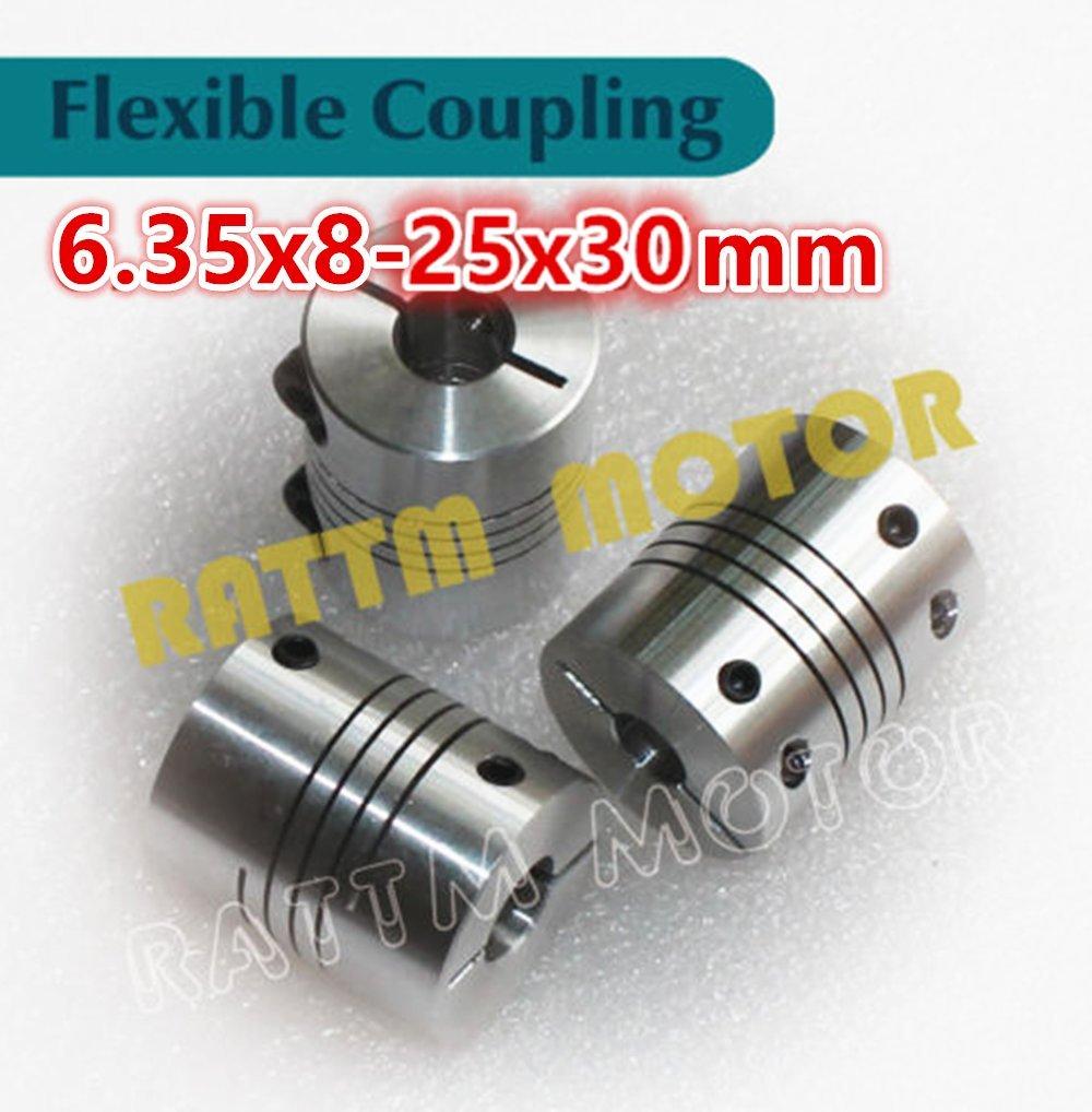 3Pcs 6.35x8mm Flexible Couplers CNC Motor Jaw Shaft 6.35mm To 8mm Couplings D25L30