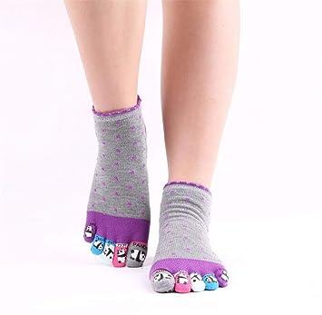WGE 2 Pares para Mujer Antideslizante Agarre Ejercicios De Yoga Calcetines Pilates Cinco Dedos Dedo del