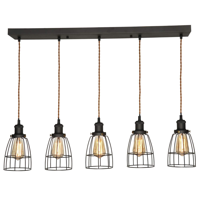 Metal Vintage Caged Kitchen Island Lights AILIN Indoor Home Pendant Lighting Fixture Antique Black Edison E26 Ceiling Lights Rectangular Chandelier 5 Sockets with Black Cages