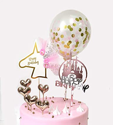 Incredible Amazon Com Demissir Pack Of 8 Happy Birthday Cake Toppers Rose Funny Birthday Cards Online Inifofree Goldxyz