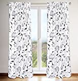 Cheap LJ Home Fashions 443 Lincoln Floral Scroll Print Hidden Tab Top Curtain Panels (Set of 2) 54″ W x 88″ L, White/Black/Grey