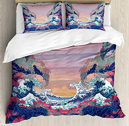 Bedding Duvet Cover Set Ultra Soft 4 Piece(1 Duvet Cover+1 Flat Sheet + 2 Pillowcases)- Colorful Fantasy Sea Waves Ocean Modern Fictional Nautical Magic Artsy Illustration Comforter Cover Set Full