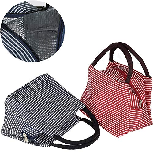 Insulated Lunch Bag, Uniwit 2 PCS Insulated Lunch Tote Cooler Bag Lunch Container Travel Zipper Organizer Box for Women Men Kids