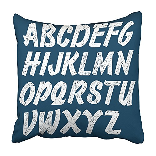 (Emvency Decorative Throw Pillow Covers Cases Blue Stamp Script Stamped Letters Alphabet Custom Vintage Retro Handdrawn Headline Text 16x16 inches Pillowcases Case Cover Cushion Two)
