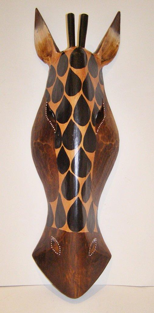 África jirafa máscara, tallada a mano madera 50 cm Altura colgar en la pared: Amazon.es: Hogar