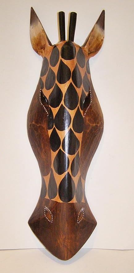 África jirafa máscara, tallada a mano madera 50 cm Altura colgar en la pared