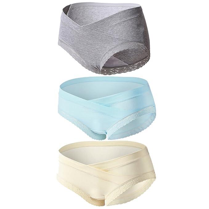 Topwhere Bragas Confortable para Mujer Embarazada De Algodón De Cintura Bajo 3Pack (L, Grey