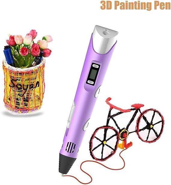 3Dプリントペン DIY, デジタルディスプレイ高温グラフィティは、USBケーブルクリエイティブ玩具ギフトと絵画 (Color : Purple)