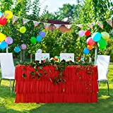 Red Tulle Tutu 6FT Table Skirt for Round or Rectangle Table with 3 Layer Dust Ruffle Cloth for Party, Meeting, Birthday, Wedding Decoration and Home Decor(L72Inch×H30Inch)