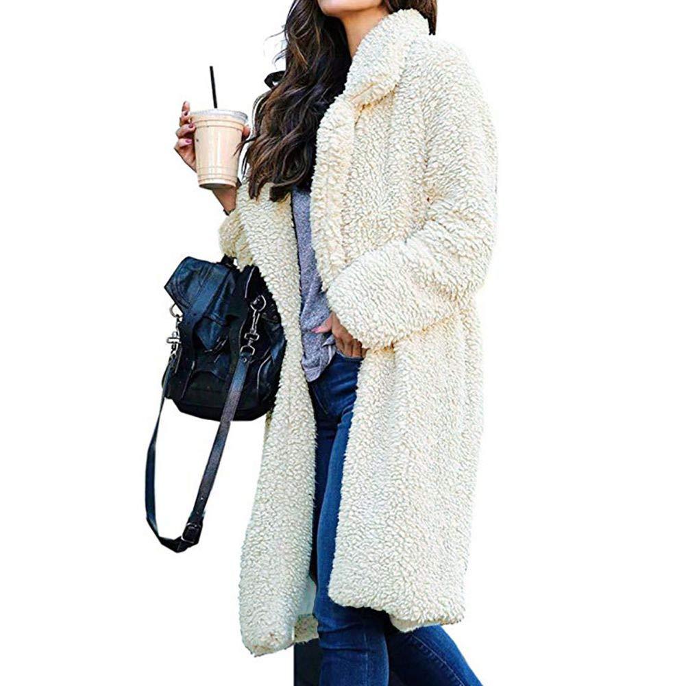 Forartt Womens Lapel Faux Shearling Coat Jacket Parka Overcoat Plush Coat Outwear