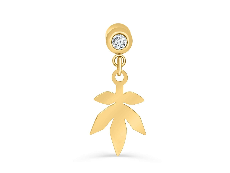 ONDAISY 14k Gold Plated Simulated Diamond Cz Dainty Love Heart Music Note Anchor Star Cross Leaf Moon Ear Barbell Ball Stud Danlge Earring Piercing
