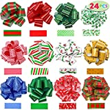 """JOYIN 24 Pieces Christmas Gift Wrap Ribbon Pull Bows (5"""" Wide); Easy and Fast Gift Wrapping Accessory for Christmas Gifts, Bows, Baskets, Wine Bottles Decoration, Gift Wrapping and Decoration Present.: more info"""