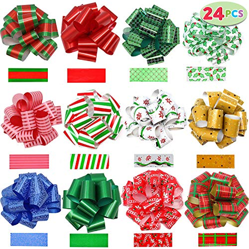 JOYIN 24 Pieces Christmas Gift Wrap Ribbon Pull Bows 5quot Wide Easy and Fast Gift Wrapping Accessory for Christmas Gifts Bows Baskets Wine Bottles Decoration Gift Wrapping and Decoration Present