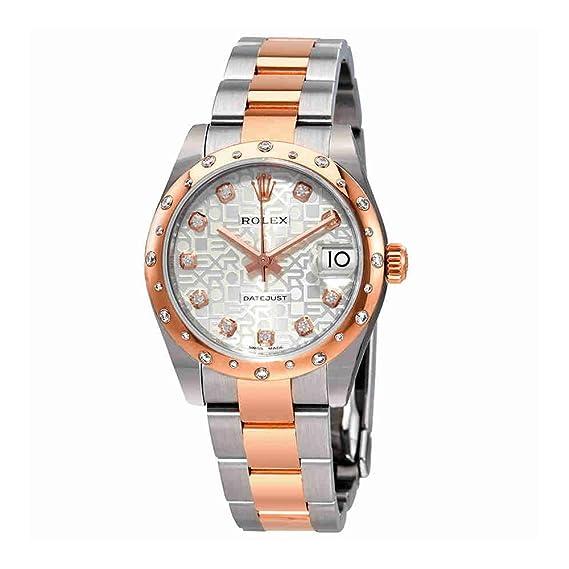 Rolex 178341SJDO - Reloj de pulsera para mujer con esfera de diamante de plata de ley