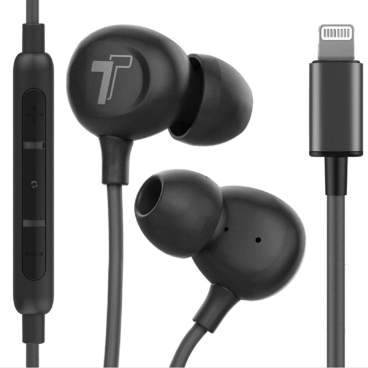 Thore Compatible with iPhone Earbuds (Apple MFi Certified) Lightning Connector in-Ear Earphones (V60) Wired Headphones with Microphone for iPhone 12 Pro Max/Mini/11/XR/Xs /7/8/SE - Black