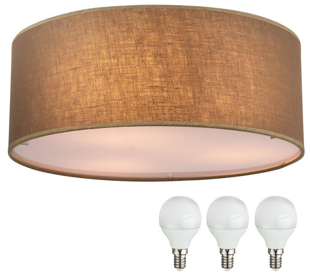 Klassische Decken Lampe rund Wohn Raum Leuchte Textil braun im Set inklusive LED Leuchtmittel