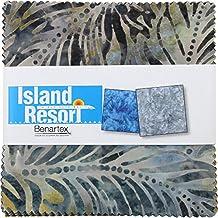 Benartex ISLAND RESORT BALI BATIKS Precut 5-inch Charm Pack Cotton Fabric Quilting Squares Assortment by Benartex
