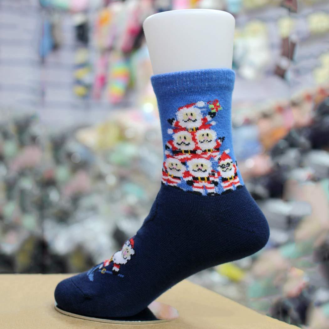 Zoylink 5 Pairs Kids Christmas Socks Elk Santa Snowman Print Cotton Crew Socks