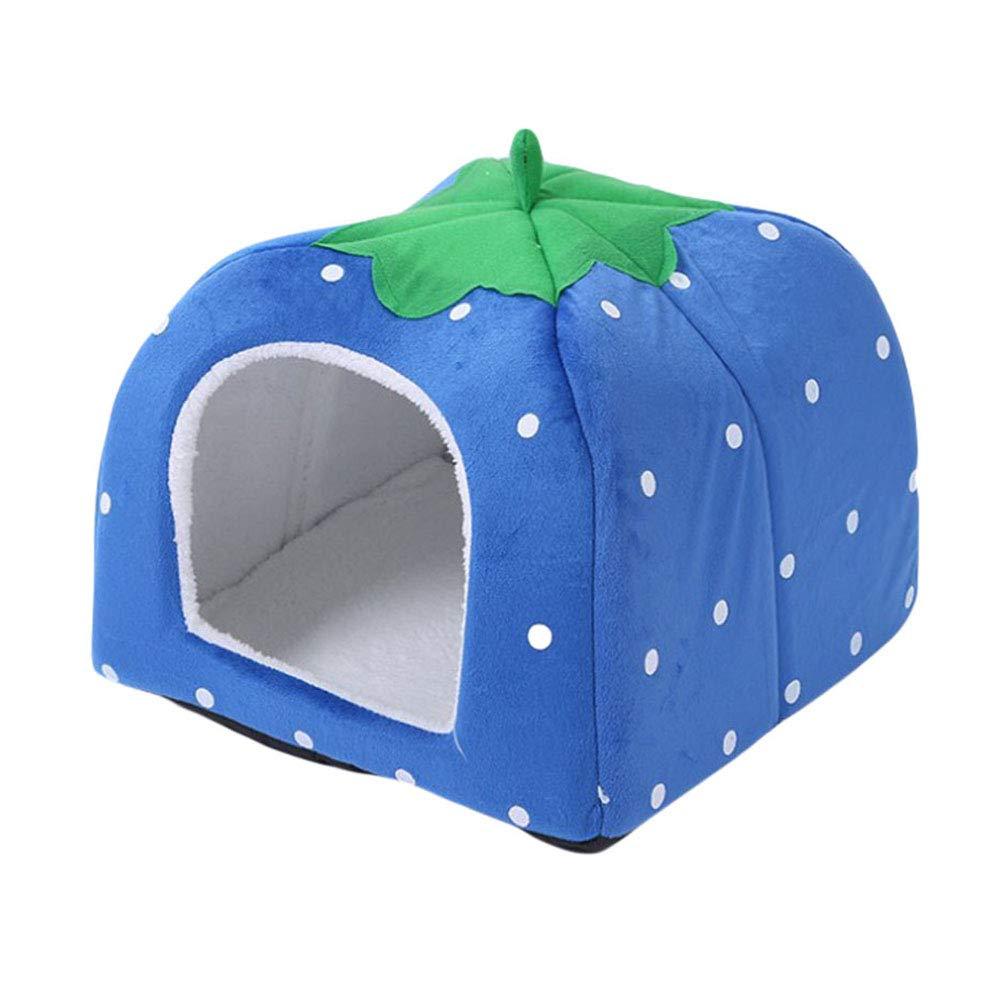 JEELINBORE Strawberry Pet Igloo Bed Soft Warm Dog Cat House Kennel Purple, XL: 48 * 48 * 48cm