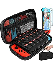 Carrying Case for Nintendo Switch/Switch OLED Model with 2 Pack Screen Protector, iVoler Protective Portable Hard Shell Pouch Carrying Travel Game Bag for Switch Accessories Holds 20 Game Cartridge