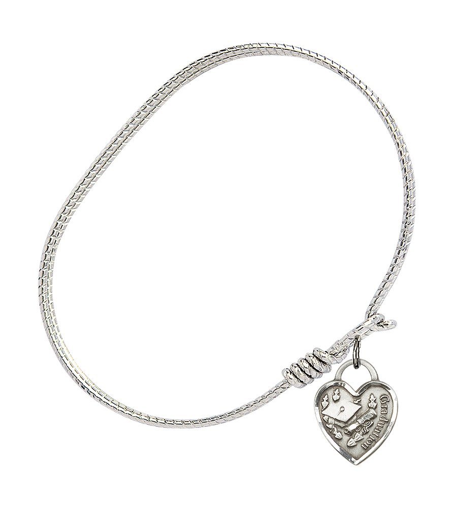 DiamondJewelryNY Double Loop Bangle Bracelet with a St Rocco Charm.