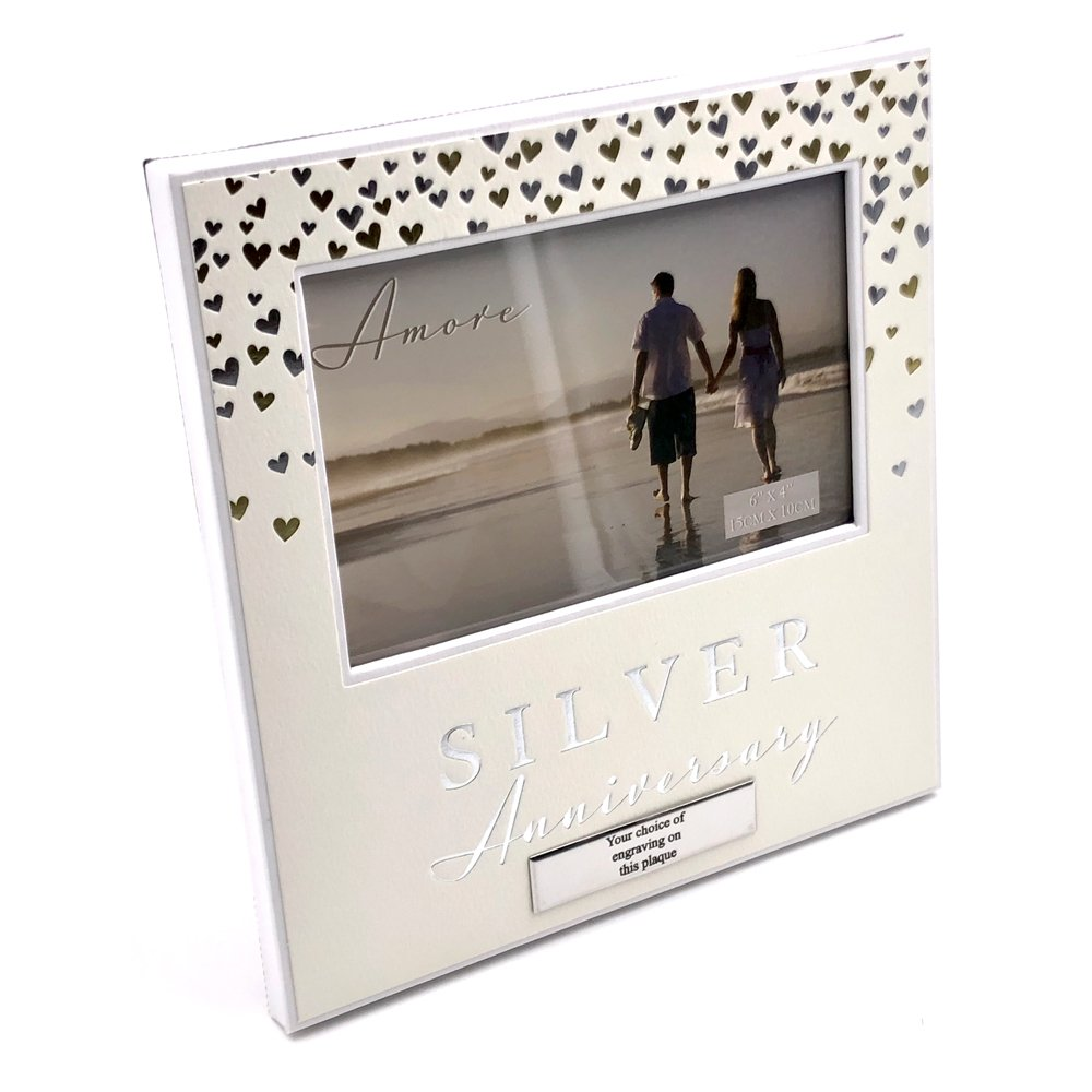 ukgiftstoreonline 25th Silver Wedding Photo Frame (Non Personalised)