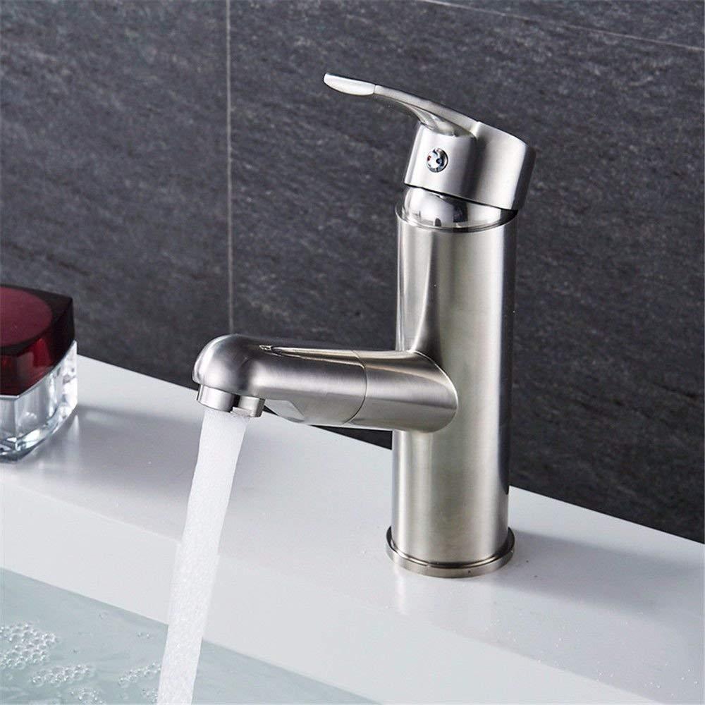JingJingnet シンクミキサータップ浴室の台所の流域水道の漏洩防止の節約水銅 - ニッケル起毛プルダウン浴室のシンクホット (Color : Low Profile) B07RKMJNTQ Low Profile