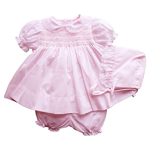 3108d6b9c9c8 Amazon.com  Petit Ami Dress and Bloomer with Smocking and Lace  Clothing