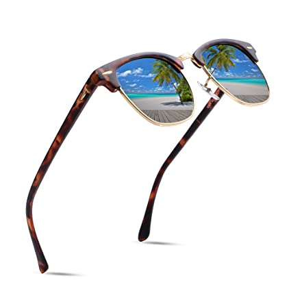a550f51b26 Amazon.com  Classic Clubmaster Retro Wayfarer Women Mirror Sunglasses Men  Luxury Brand designer Sunglasses Tortoise Sun glasses 70s 80s 90s Vintage  Stlye ...
