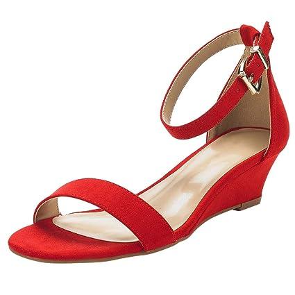 465b737fa8066 Amazon.com: Midress Women's Ankle Strap Low Wedge Sandals Fashion ...
