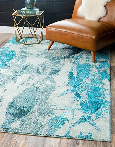 - Unique Loom Positano Collection Coastal Modern Fish Light Blue Area Rug (4' x 6')