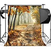 SJOLOON Autumn Background Scenic Forest 8X8ft Photography Background Studio Props 10754