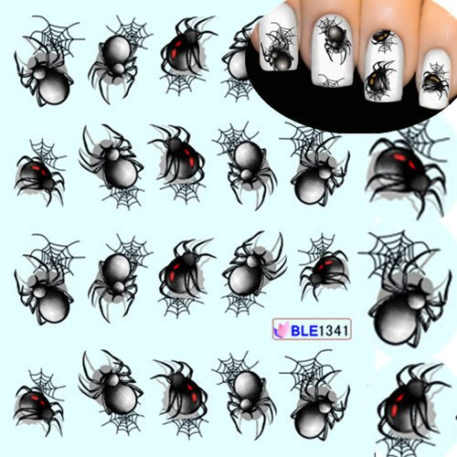 10 Sheet Halloween style Spider Water 5.4x6.2cm Transfer Nail Art Stickers Manicure Decoration Nails Wraps Decals Styling Tools (Halloween Pedicure Art)