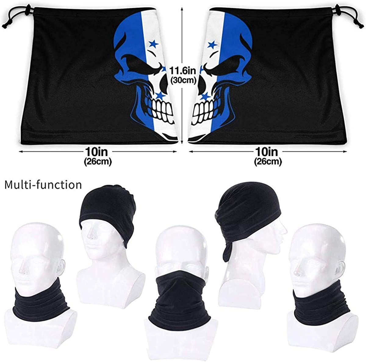 Honduras Flag Skull Microfiber Neck Warmer Balaclavas Soft Fleece Headwear Face Scarf Mask For Winter