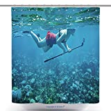 vanfan-Polyester Shower Curtains Young Woman Snorkeling Selfie Stick Action Camera Polyester Bathroom Shower Curtain Set Hooks(60 x 72 inches)