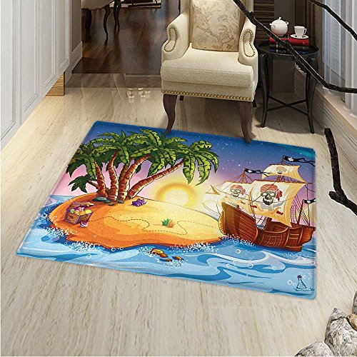 (Pirate Ship Rugs for Bedroom Ghost Ship on Exotic Sea Near Treasure Island with Palm Trees and Open Chest Circle Rugs for Living Room 40