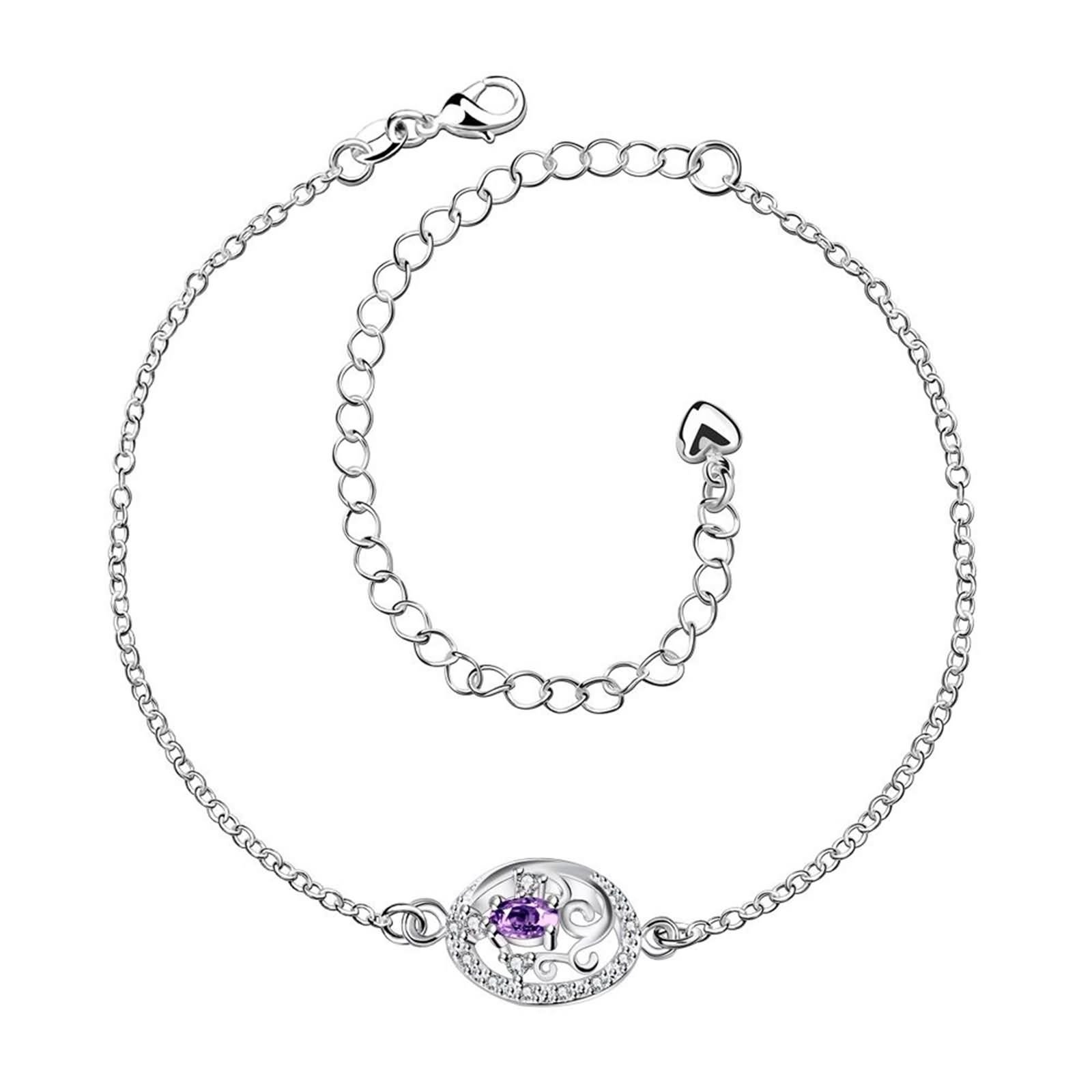 Bishilin Beach Anklets Wedding Hollow Flower Cubic Zirconia anklet extender 2.3 CM