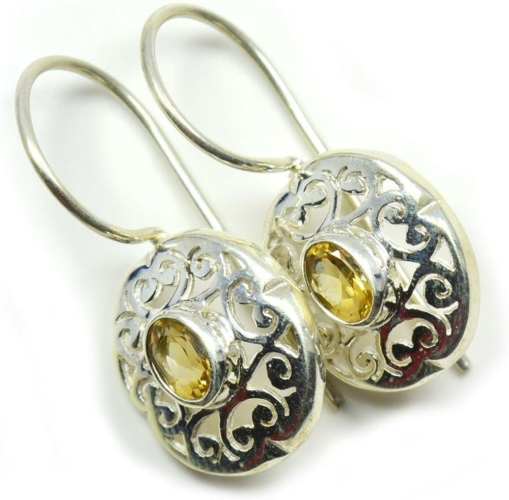 CaratYogi - Pendientes de citrino amarillos de plata de ley 925 con diseño de clase, corte redondo