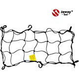 JawayTool 15 x 30 Heavy Duty Stretchable Bungee Cargo Net in Black with 6 Adjustable Plastic Hooks for Motorcycles, ATV, Snowmobile, Bike, Canoe, Bob Trailer, Boblbee