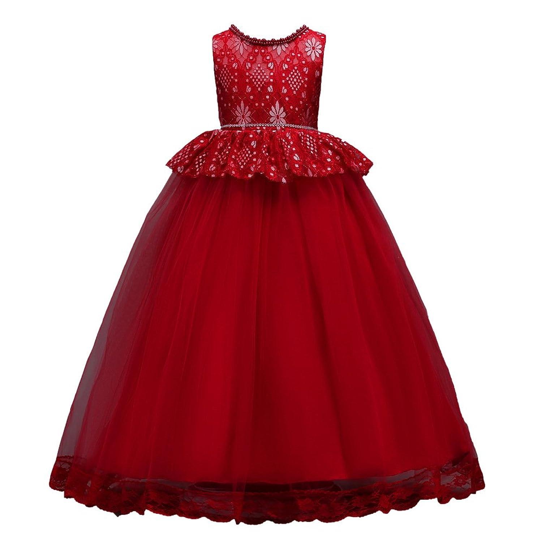 1e9479d97cae1 Filles Tulle Robe Demoiselle d honneur Mariage Maxi Princesse Robes  Communion Fête Des gamins Tutu Anniversaire Bal de promo Danse Baptême  Reconstitution ...