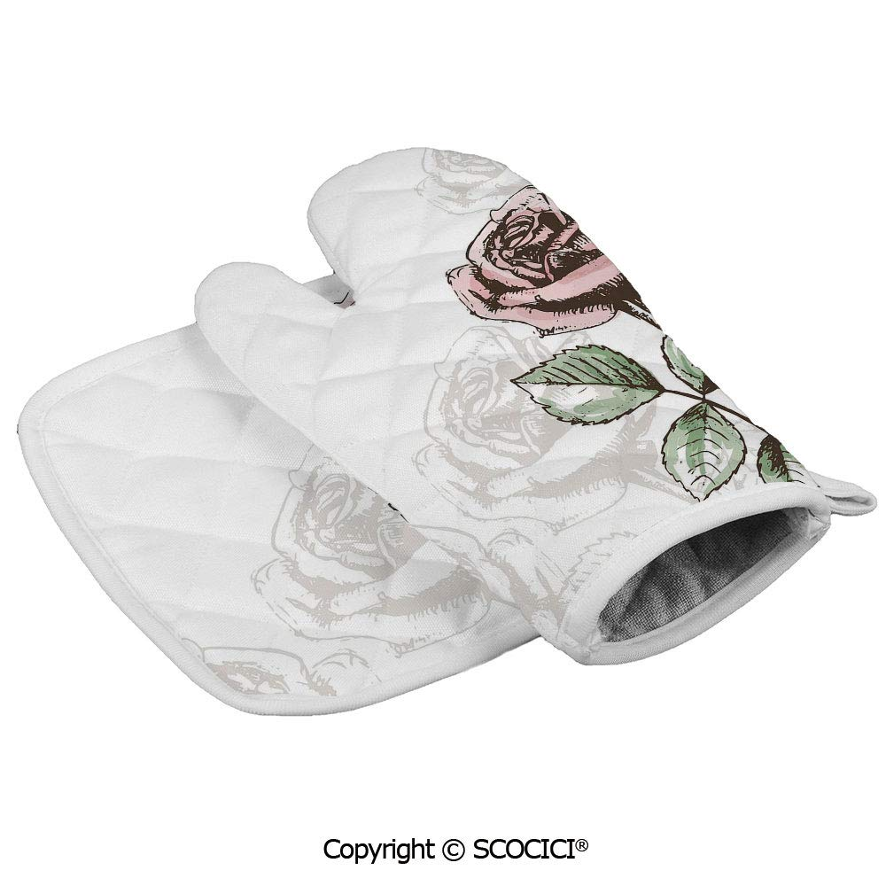SCOCICI Oven Mitts Glove - Victorian Antique Design Sketchy Stem with Blossom and Faded Flourish Heat Resistant, Handle Hot Oven Cooking Items Safely