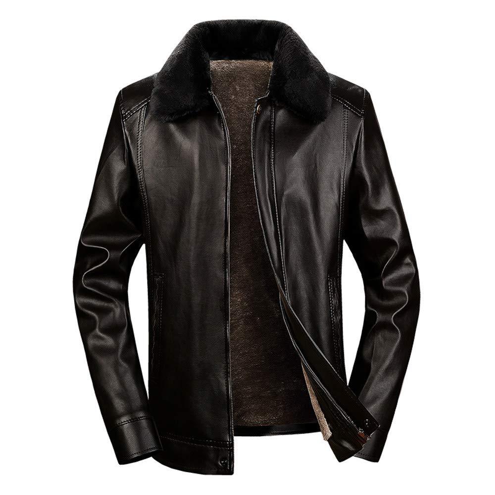 Clearance Sale ! Men Leather Coat,Vanvler Male Short Fleece Jacket Thermal Winter Warm Outwear Thickened (4XL, Black) Vanvler Men Long Sleeve Tops