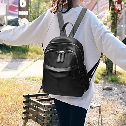 Skin Knapsack Compartment Leisure Bag Canvas Ladies Waterproof Multi Backpack Version Oxford Wave Personality black Fashion Shoulder School Zcm New q17THxwZS